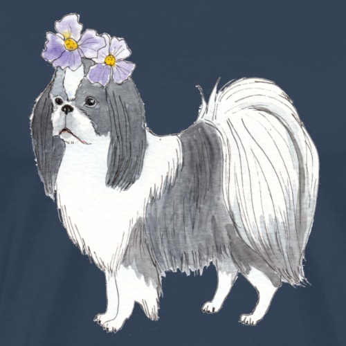 Japanese Chin With Flower - Herre premium T-shirt