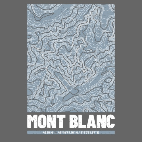 Mont Blanc | Landkarte Topografie Grunge Design