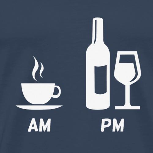 AM: Kaffee | PM: Wein - Männer Premium T-Shirt