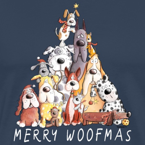 MERRY WOOFMAS Hunde Weihnachten Hundehaufen - Männer Premium T-Shirt