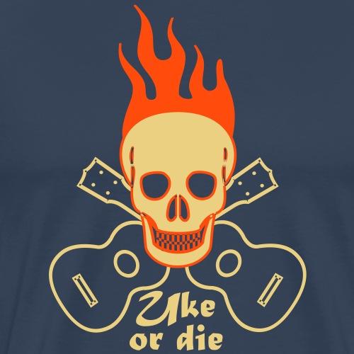 Uke or die burning skul - Männer Premium T-Shirt