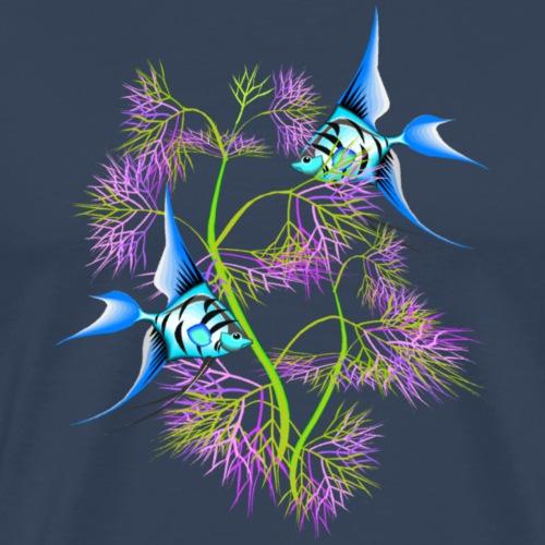 Tropical blue Fish Swimming around plants - Men's Premium T-Shirt