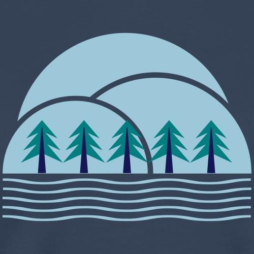 Wald Berge Bäume Natur wandern Camping outdoor - Männer Premium T-Shirt