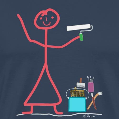 Pinsel Frau Strichfrau Malerin Künstlerin Farbe - Männer Premium T-Shirt