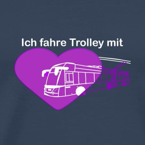 Trolleybus violett-weisse Schrift - Männer Premium T-Shirt