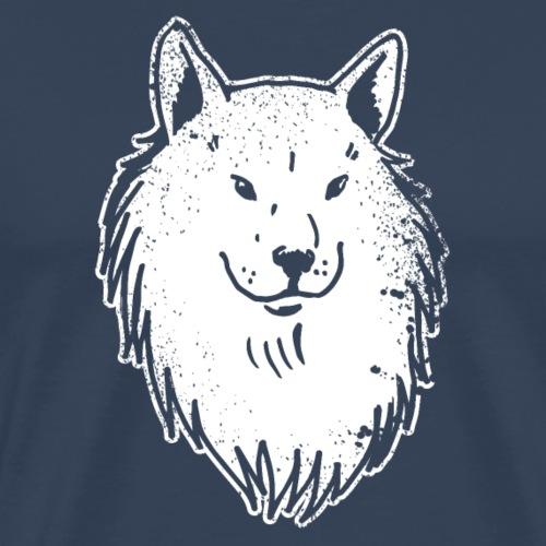 Portrait Blanc Wolf Husky drôle idée cadeau - T-shirt Premium Homme