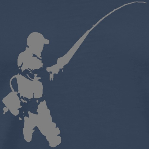 fly fishermen - grey print - Men's Premium T-Shirt