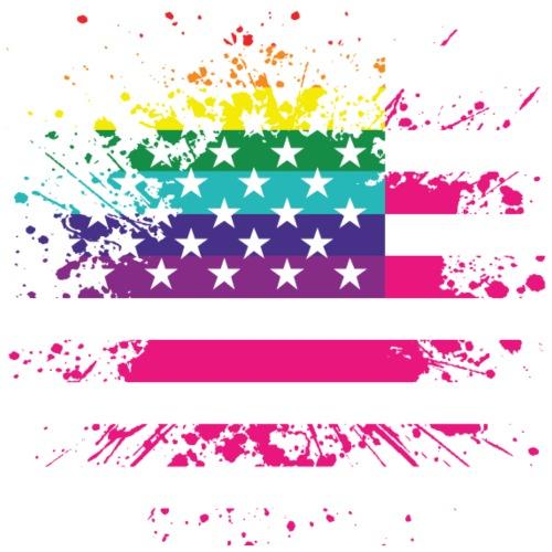 USA vlag met LGBT regenboog - Mannen Premium T-shirt