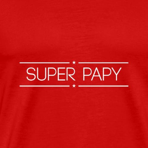 Logo Super Papy Blanc - T-shirt Premium Homme