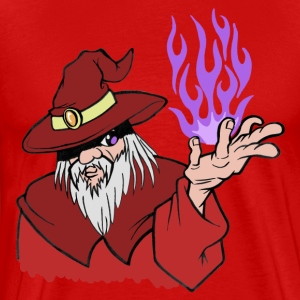 Willpower Wizard Red / Purple Flame - No Text - Men's Premium T-Shirt