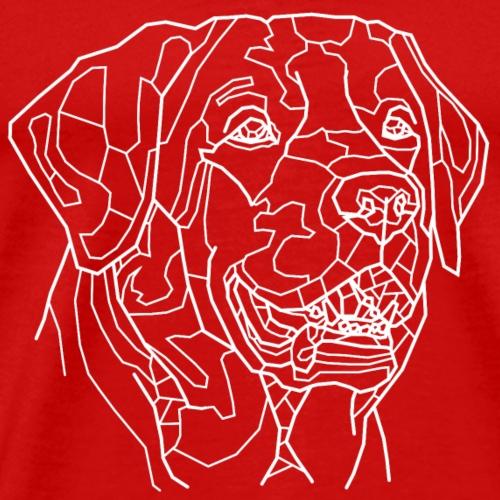 Hund weiß Line Art - Männer Premium T-Shirt