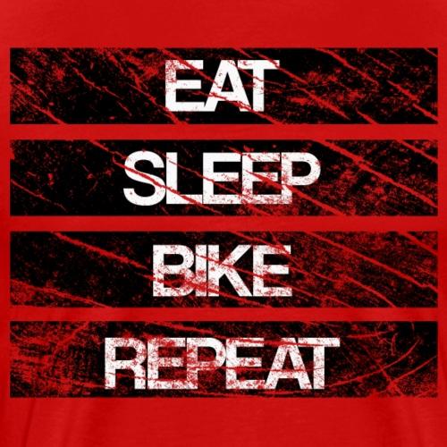 eat sleep bike repeat Used look - Männer Premium T-Shirt