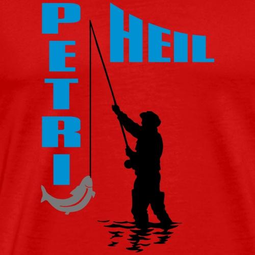 Angler mit Fisch an der Angel - Petri Heil - Männer Premium T-Shirt
