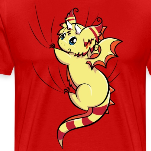 Yellow Fluffy Dragon - Hanging on - Men's Premium T-Shirt