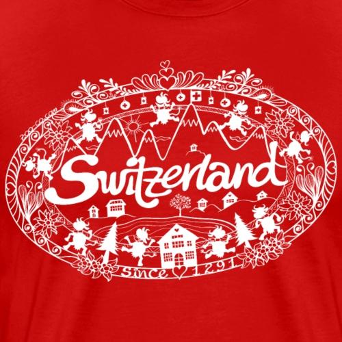 Switzerland paper cutting hand lettering - Men's Premium T-Shirt