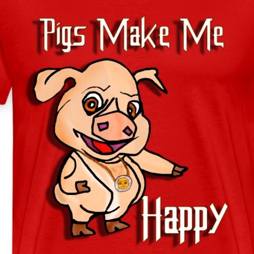 Oh my God pigs maakt mij blij - Mannen Premium T-shirt