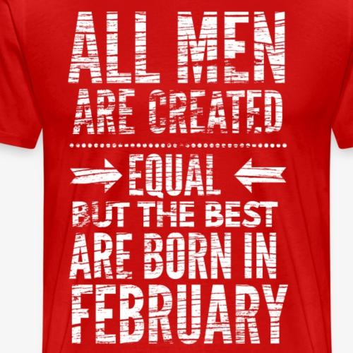 Verjaardag februari tekst wit - Mannen Premium T-shirt