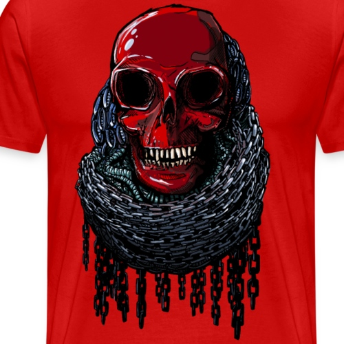 RED Skull in Chains - Men's Premium T-Shirt