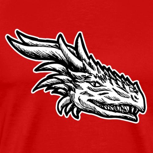 Tête de dragon maléfique Noir Blanc Cadeau Drôle - T-shirt Premium Homme