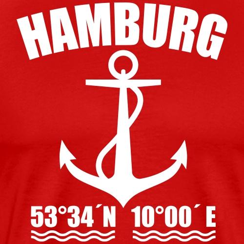 27 Hamburg Anker Maritim Koordinaten - Männer Premium T-Shirt