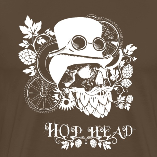 Hop Head Skull (White) - Men's Premium T-Shirt