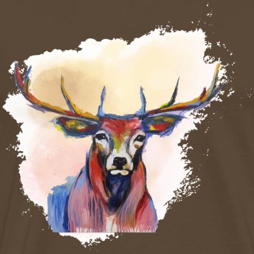 Hirschkopf in roter Wolke - Männer Premium T-Shirt
