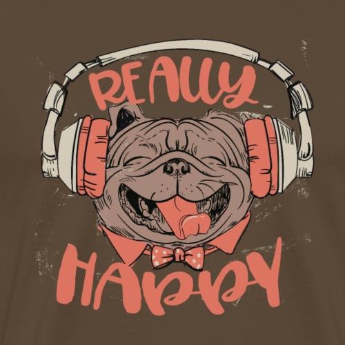 Glückliche Dogge - really happy Frenchie music - Männer Premium T-Shirt