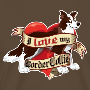 I Love My Border Collie - Dark Brown - Men's Premium T-Shirt