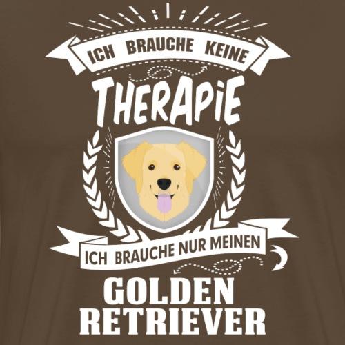 Ich brauche keine Therapie Golden Retriever white - Männer Premium T-Shirt