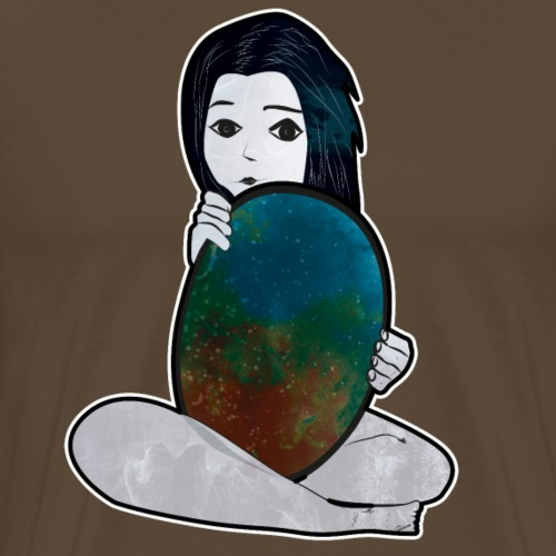 La jeune fille et le miroir de l'univers - T-shirt Premium Homme