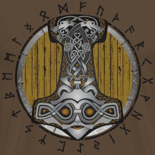 Thor hammer Mjolnir on the shield - Men's Premium T-Shirt