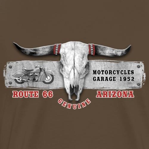 11A-06 BULL SKULL MOTORCYCLES GARAGE - Miesten premium t-paita