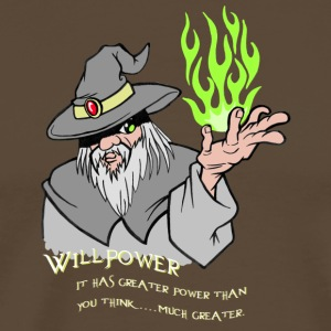 Willpower Wizard Grey / Green Flame - Men's Premium T-Shirt