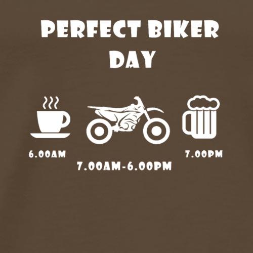 Perfect biker day cross white - Männer Premium T-Shirt