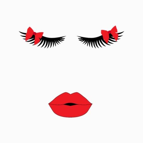 Ultralange Wimpern und rote Lippen T-Shirt