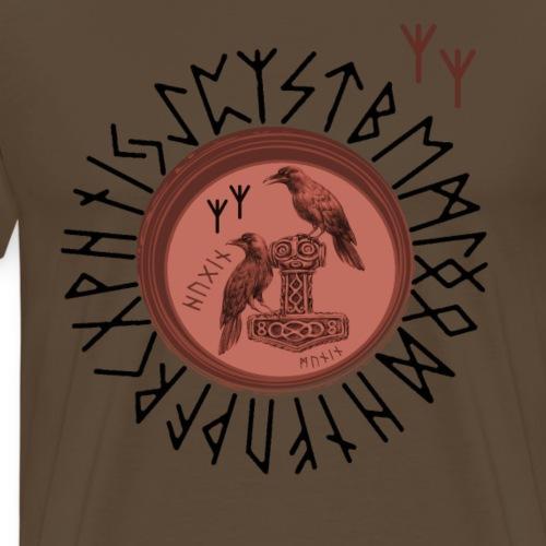 Thor Hammer Mjölnir mit Odin Raben Hugin und Munin - Männer Premium T-Shirt