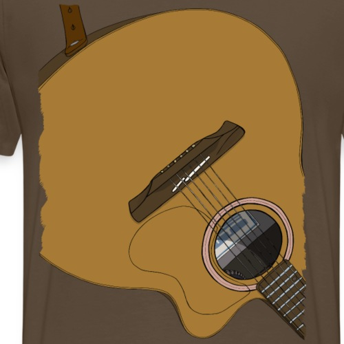 Gitarre auf dem Rücken Braun - Männer Premium T-Shirt