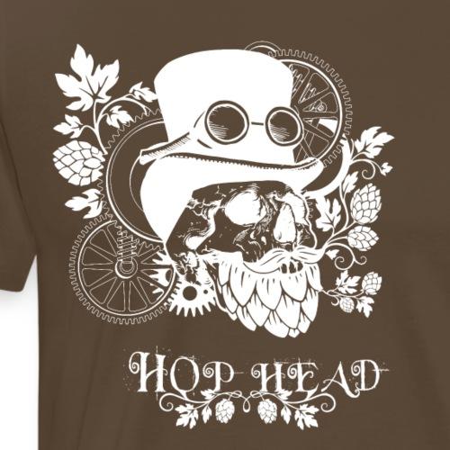 Hop Head Skull (White) - Men's Premium T-Shirt