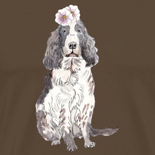 English cocker spaniel with flower - Herre premium T-shirt
