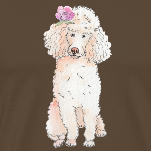 Poodle with flower - Herre premium T-shirt