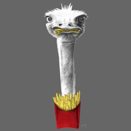 Ostrich Eating Fries - Men's Premium T-Shirt