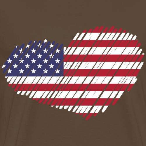 coeur drapeau USA - T-shirt Premium Homme