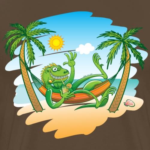 Lazy Iguana Summer on the Beach - Men's Premium T-Shirt