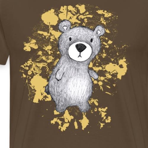 Bär mit honiggelben Blättern - Männer Premium T-Shirt