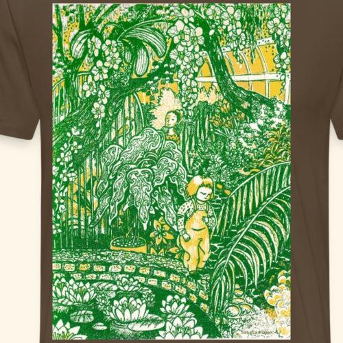 Children in a green garden - Miesten premium t-paita