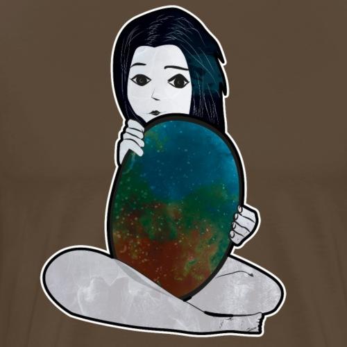 Tyttö ja peili maailmankaikkeuden - Miesten premium t-paita