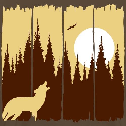 Wolf vor Mond/Sonne Waldbewohner Waldtier Geschenk - Männer Premium T-Shirt