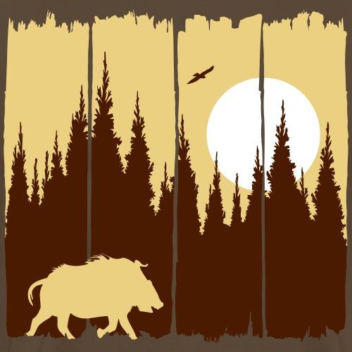 Wildschwein vor Mond / Sonne Waldbewohner Keiler - Männer Premium T-Shirt