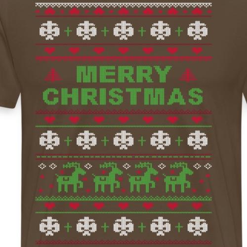 Ugly Sweater Merry Christmas Weihnachtsfarben - Männer Premium T-Shirt
