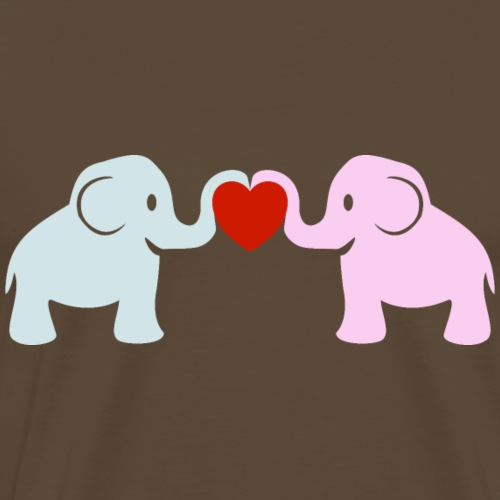 Süße Elefanten Rüssel Herz Liebe - Männer Premium T-Shirt